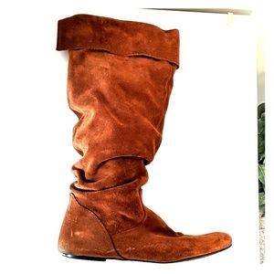 Light brown faux suede slouchy boots